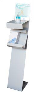 Naga dispensador de pie para gel y guantes