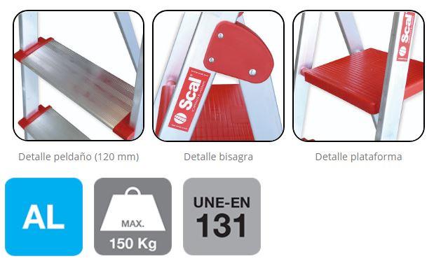 detalle ESCALERA PROFESIONAL CON ARCO DE SEGURIDAD Serie T-PLUS-