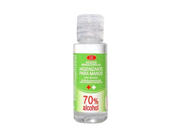 Solución hidroalcohólica higienizante para las manos con un 70% de alcohol.
